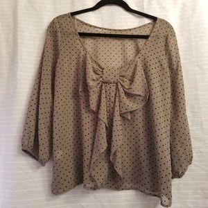 Lovely day blouse bow back polka dot sheer